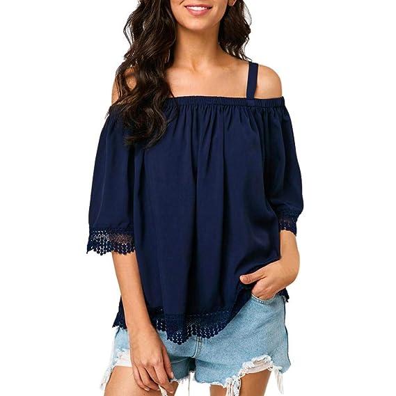 Overdose Moda para Mujer Casual Off Shoulder Cold Shoulder Mejor Venta De Encaje Ribete Camiseta Blusa Tops Tops Mujer Verano: Amazon.es: Ropa y accesorios