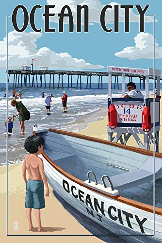 Ocean City, New Jersey - Lifeguard Stand (9x12 Art Print, Wall Decor Travel Poster) ()