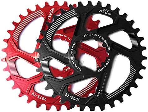 耐久性のある機能的な自転車クランクセット、 自転車クランクセットアルミ合金30T 32T 34T 36T 38Tナローワイドチェーンリングチェーンホイール用スラムXX1 XO1 X1 GX XO X9クランクセット自転車部品 (Color : Black, Size : Round 38T)