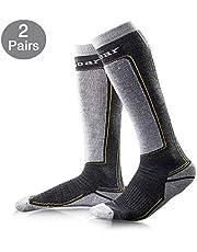 Unigear Chaussettes de Ski Hommes et Femmes en Laine Longues et Thermiques Idéal pour Ski Snowboard et d'autres Sports d'hiver (Gris+Gris, S)
