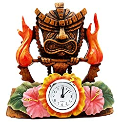 Atlantic Collectibles Tiki Fire Goddess Pele Table Clock Figurine 7Tall Volcano Lightning Wind Deity Of Hawaii Sculpture