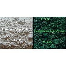 (Lot of 2) 1 Gram Each MATTE GREEN Chromium Oxide & Titanium Dioxide WHITE Water Oil Water Cosmetic Make Up Pigment DIY Lotion Soap Cream Pigment Powder