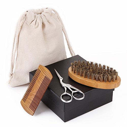 Beard Grooming Kit for Men, Sandalwood Beard Comb, Boar Bristle Beard Brush and Hair Scissors, With Gift Box and Carrying Bag by WOWAX