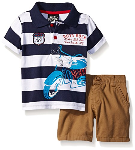 Boys Rock Baby 2 Pc Short Set Stripe Motorcycle, Multi, 18 Months