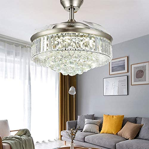 42 Crystal Ceiling Fan Chandelier with Remote Control Modern Retractable Blade Fandelier Indoor LED Light with Fixture Kits Bedroom Living Room Kitchen Dinning Room Silver