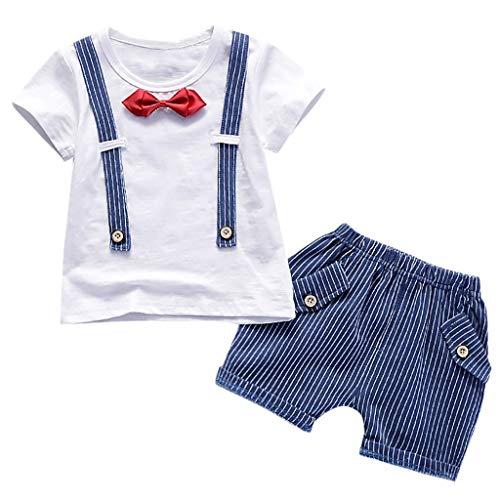 Sunhusing Toddler Kids Boys Short Sleeve Button Bib Bowtie Top Shirt + Striped Pocket Shorts Outfits Set Blue