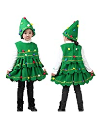 Kids Toddler Girls Christmas Tree Costume Dress Clothes Party Vest Tops Hat Outfits