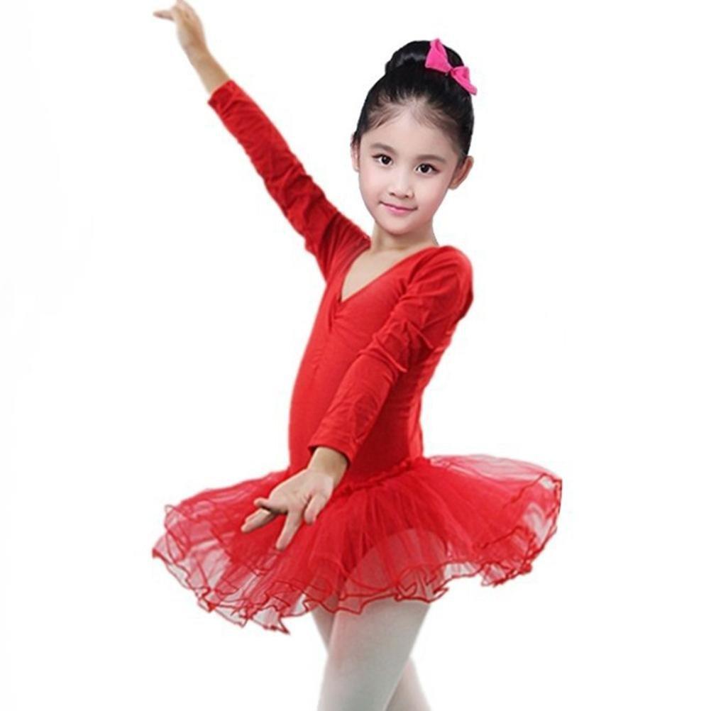 Tenworld Girls Long Sleeve Skirted Leotard For Dance Ballet Tutu Dresses