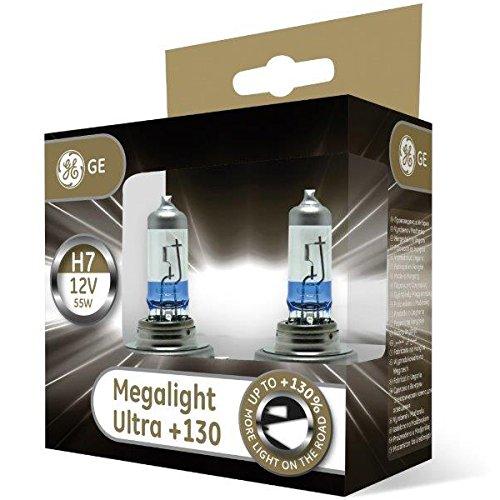 GE Megalight Ultra H7 +130% Light Car Headlight Bulbs (Twin) 58520XNU