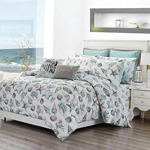 Kaputar 12 Piece Seashells Aqua/Gray Reversible Comforter Set with Sheets | Model CMFRTRSTS - 5679 | Queen
