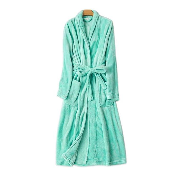 YTFOPLK Bata De Invierno Gruesa Túnica Mujer Batas De Baño Fresca Kimono Bata Mujer Casuales Batas Novia, Verde-L: Amazon.es: Ropa y accesorios