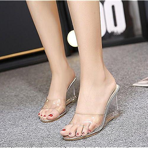 6978785c Zapatos de Mujer PVC Summer Fall Club Sandalias Zapatos Tacones Wedge Heel  Crystal Heel For Party
