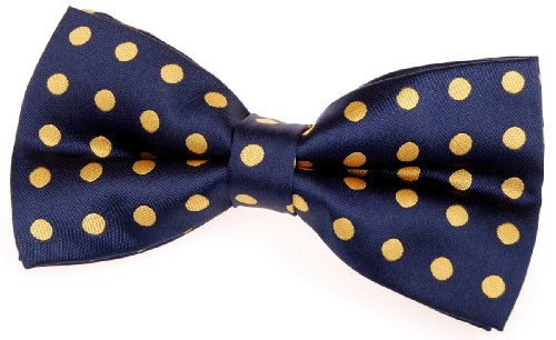 "Retreez Classic Polka Dots Woven Microfiber Pre-tied Bow Tie (5"") - Navy Blue with Yellow Dots"