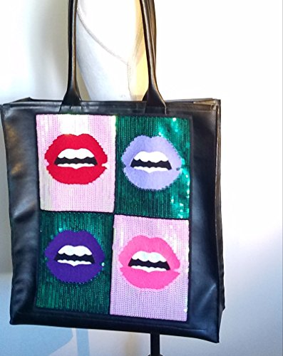 Black Vegan Leather Sequined Tote HANDMADE IN TEXAS, (Evelyn Tote)