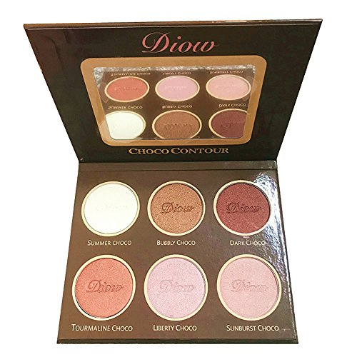 diow 6 Color Choco Face Contour Bronze Highlighter Powder Makeup Palette Kit