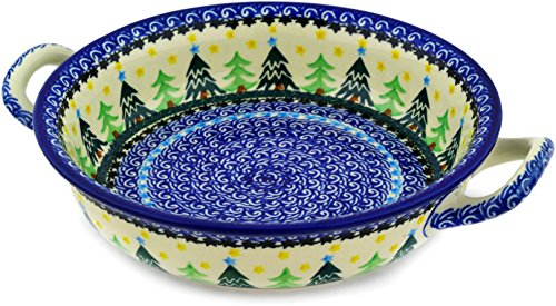 Polish Pottery Medium Round Baker with Handles made by Ceramika Artystyczna (Christmas Evergreen Theme) + Certificate of Authenticity