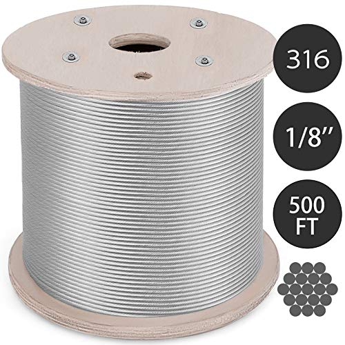 Mophorn T316 Stainless Steel Cable 0.125In 1x19 Steel Wire Rope Cable 500Ft Cable Railing for Railing Decking Aircraft(1x19) ()