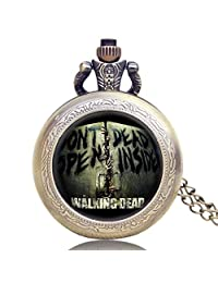 Men's Pocket Watch, Engraved Don't Open Dead Inside Design Pocket Watches, Best Gift for Men Fans of The Walking Dead - JLYSHOP
