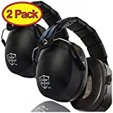 2 Pack - Safety Ear Muffs Shooters Hearing Ear Protection Folding-Padded Head Band Ear Cups, Black (Certified S3.19 & EN352)