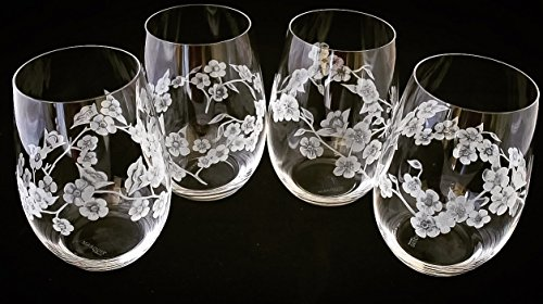 Hand Engraved Stemless wine glasses, set of 4 Cherry Blossom by Akoko Art Handengraved Crystal Glass