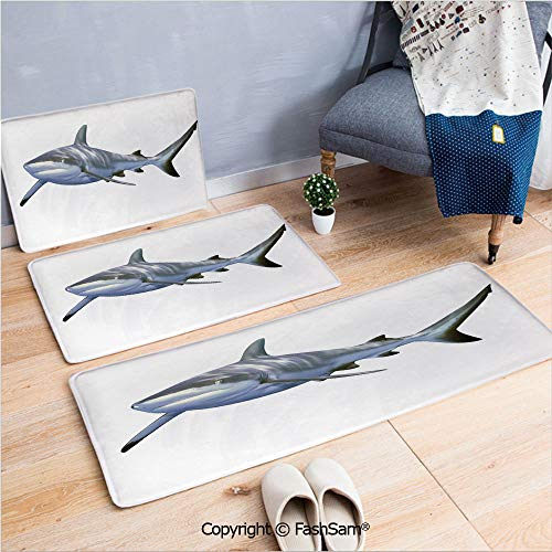 3 Piece Flannel Bath Carpet Non Slip A Large Reef Shark Swimming Futuristic Computer Art Stylized Underwater Design Decorative Front Door Mats Rugs for Home(W15.7xL23.6 by W19.6xL31.5 by W31.4xL47.2)