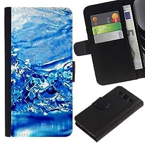 Billetera de Cuero Caso del tirón Titular de la tarjeta Carcasa Funda del zurriago para Samsung Galaxy S3 III I9300 / Business Style Water Effect Blue