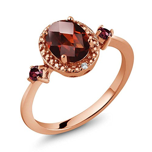 Gem Stone King 1.59 Ct Oval Checkerboard Red Garnet Red Rhodolite Garnet 18K Rose Gold Plated Silver Ring With Accent Diamond