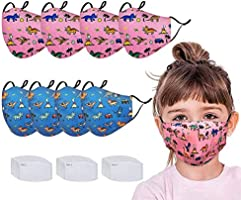 Kids Face Protector with Activated Carbon Filters(8pcs Bandanas and 30pcs Filters)