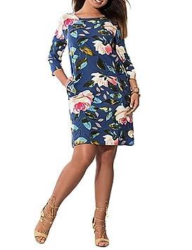 DESY Mujer Vaina Vestido Trabajo Fiesta/Cóctel Tallas Grandes Vintage,Floral Escote Redondo Hasta