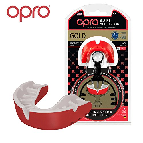 OPRO Mouthguard Custom-Fit Gold Level Gum Shield for Ball, Combat and Stick Sports - 18 Month Dental Warranty (Adult and Kids Sizes) | Red, Adult
