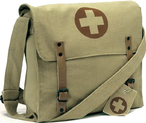 [Vintage Shoulder Medic Bag (Khaki, Red Cross)] (Army Medic Costumes)