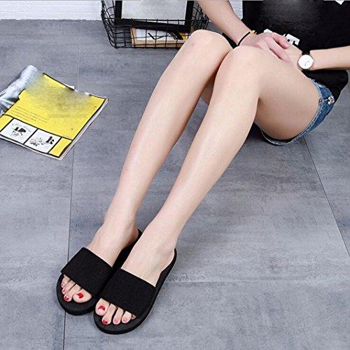 LHWY Sandalen Damen Hausschuhe, Sommer Frauen Slipper Schuhe Plattform Bad Hausschuhe Flache Schwarze Strand Flip Flops Hausschuhe Schuhe Eva Schwarz