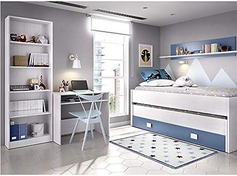 HABITMOBEL Habitacion Completa Cama Nido 2 cajones + Estante + Estantería + Mesa Escritorio (somieres Incluido)
