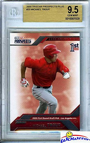 Mint 9.5 Gem Bgs (Mike Trout 2009 Tristar Prospects Plus #20 FIRST EVER ROOKIE Card Graded SUPER HIGH BGS 9.5 GEM MINT! Amazing Super High Grade ROOKIE of Los Angele Angels MVP Future Hall of Famer! Wowzzer!)