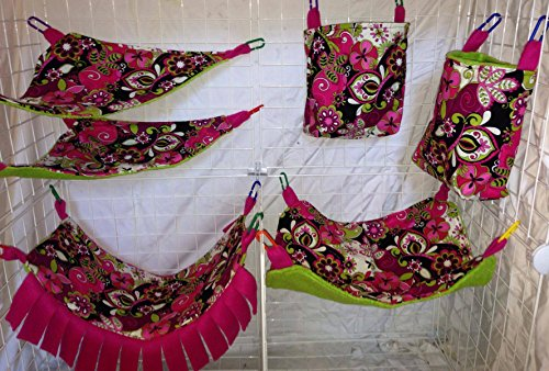 Complete Hammock Set For Rats, Sugar Gliders, Ferrets, or Other Small Pets - Featuring Pink and Green Paisley (Pink Paisley Monkey)
