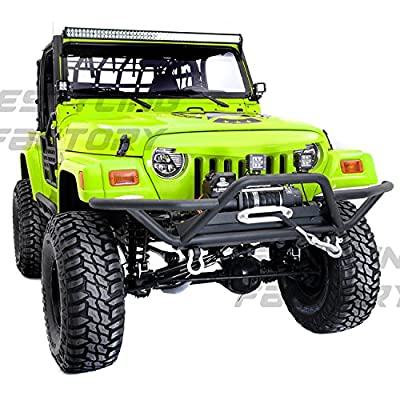 Restyling Factory 97-06 Jeep Wrangler Black Tubular TJ Rock Crawler Front Bumper with Winch Mount Plate