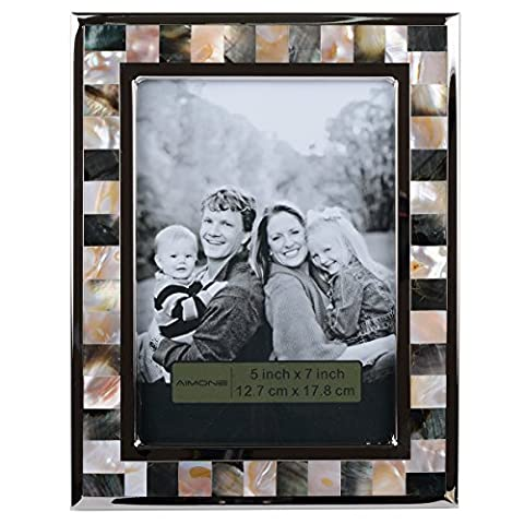 AIMONE Photo Frame Mother of Pearl Shell Mosaic Naturals Multi Sea Shells Decor, Made to Display 5x7 Inch - Mother Of Pearl Wall Art