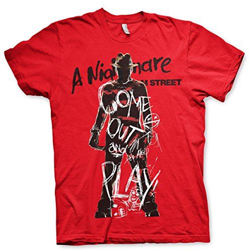 Nightmare On Elm Street T Shirt Come Out And Play new Official Mens Red
