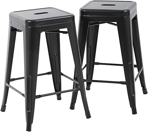 FDW Bar Stools Counter Stool Barstools Set of 2 Industrial Metal Bar Stools Patio Furniture Modern Backless 24 Stackable Metal Indoor Outdoor Bar Stools Kitchen Counter Stools Chairs