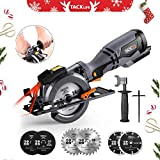 """Circular Saw with Metal Handle,4-3/4"""", 5.8A, 10feet Core Length, Laser Guide, Max Cutting Depth 1-9/10'' (90°), 1-3/10'' (0°-45°), 6 Blades, Compact Handheld Design for Wood, Metal, Tile and Plastics Cuts 