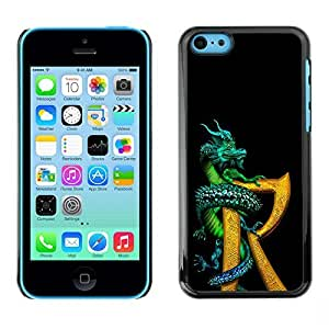 iPhone 5C alarm Dragon R Letter Black of Gold and Fantasy Book and By FAQA Case