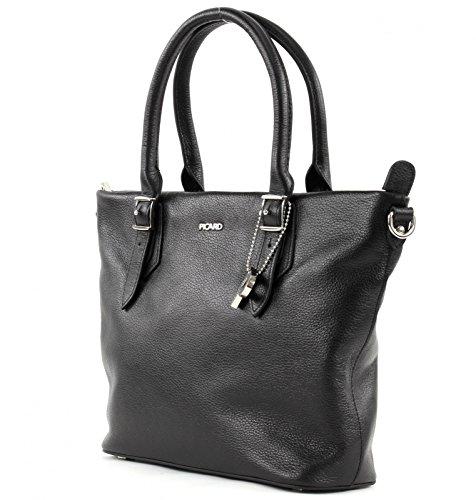 PICARD Sugar 8735 Tasche Damen Henkeltasche Echt Leder Handtasche 24x21x9 cm (BxHxT), Farbe:Rot Black (Schwarz)