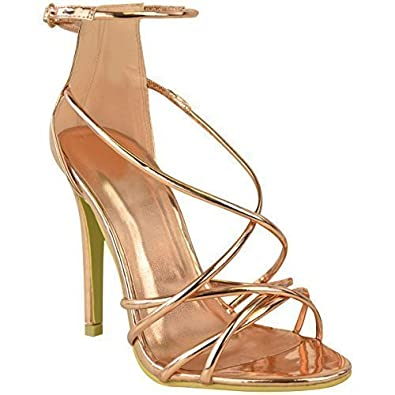 d7e8da30eec Fashion Thirsty Womens Ladies Rose Gold Barely There High Heel Party Sandals  Ankle Strappy Shoes  Amazon.co.uk  Shoes   Bags