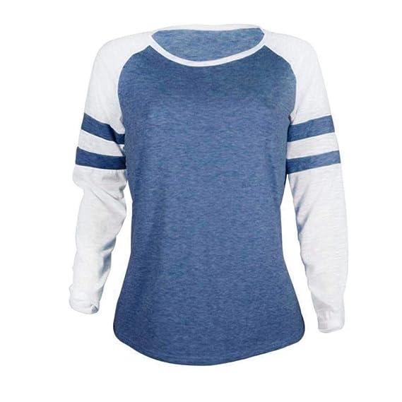 Bestow amiseta de Mujer de Manga Larga Camiseta Top Empalme de la Blusa Tops Ropa Blusa