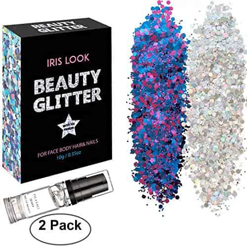HITOP Body Glitter, 2 Pack Festival Glitter and 1 Fix Gel, Purplish Blue and Silver White Chunky Glitter for Face Nail Hair Eyes Lips or Any Place of Your Body, Beauty Makeup Decoration- DIY Cosmetic