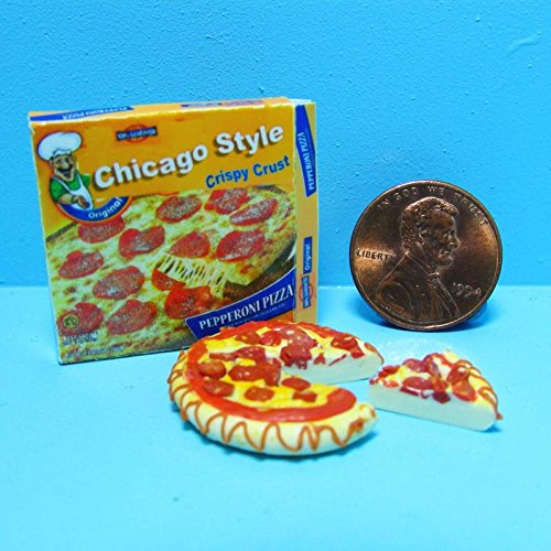 Dollhouse Miniature Replica box of Chicago Style Pizza and a Pizza G - My Mini Fairy Garden Dollhouse Accessories for Outdoor or House Decor