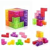 D-FantiX Magnetic Building Blocks Tetris Puzzle Cube 7pcs/Set Square 3D Brain Teaser Puzzle Magnetic Tiles Stress Relief Toy Games for Kids ( Cube Size 2.36in)