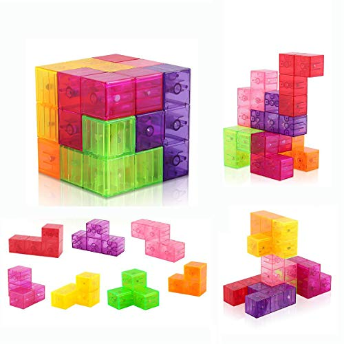 - D-FantiX Magnetic Building Blocks Tetris Puzzle Cube 7pcs/Set Square 3D Brain Teaser Puzzle for Kids Magnetic Tiles Stress Relief Toy Games( Cube Size 2.36in)