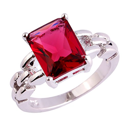 - Psiroy 925 Sterling Silver Created Ruby Spinel Filled Wedding Anniversary Ring for Women Size 6