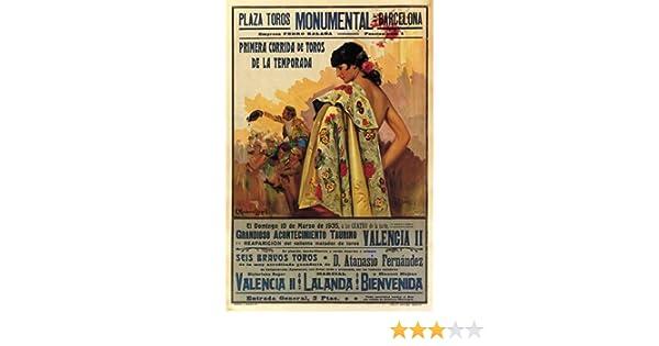 BULLFIGHT vintage ad poster BARCELONA SPAIN 1935 CORRIDA 24X36 VERY RARE